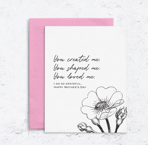 Mother's Day Shaped Me Letterpress Card