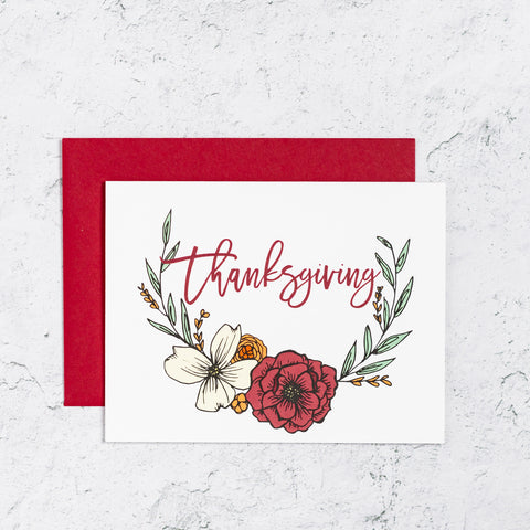 Thanksgiving Card With Floral Wreath
