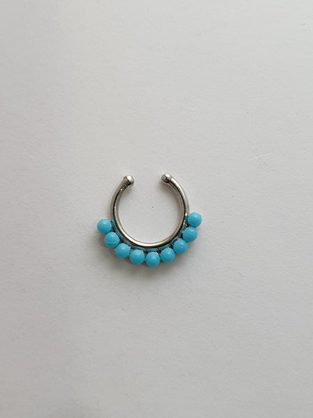Blue Beaded Fake Septum Ring Silver and Gold