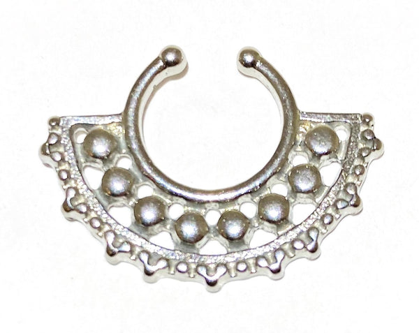 Aztec Half Flower Fake Septum Ring Silver and Gold