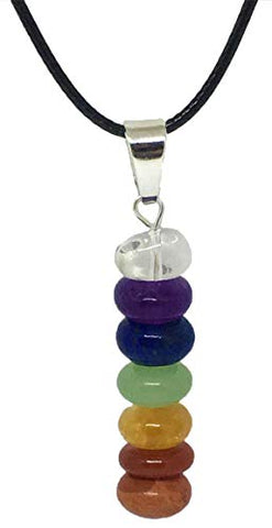 Schmidt Jewelry 7 Stone Chakra Necklace - Natural Stones Pendant - Balance Chakras with Gift Box