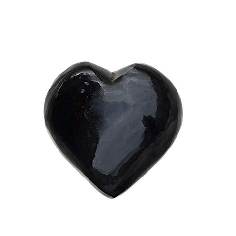 Black Obsidian Worry Stone – Heart Shaped Palm Stone for Energy Crystal for Spiritual Cleansing, Chakra Reiki Healing and EMF Protection (55mm-60mm)