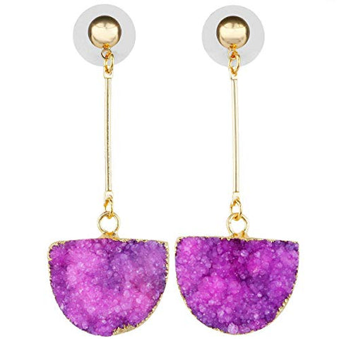 SUNYIK Women's Crystal Geode Druzy Quartz Dangle Earrings Gold Plated, Half Round, Fuchsia