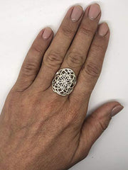 Dabble Seed of Life Ring Sterling Silver 925 Sacred Geometry Flower of Life Yoga Jewelry (10)