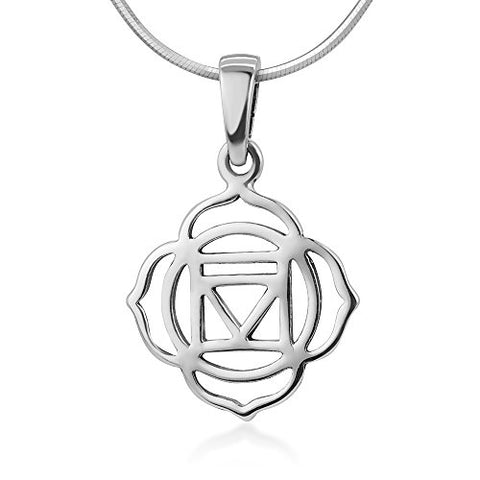 Chuvora 925 Sterling Silver Filigree Muladhara Root 1st First Chakra Symbol Healing Pendant Necklace 18""