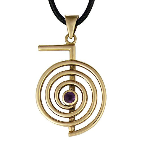 Bronze Cho Ku Rei Reiki Symbol Pendant Necklace with Natural Amethyst