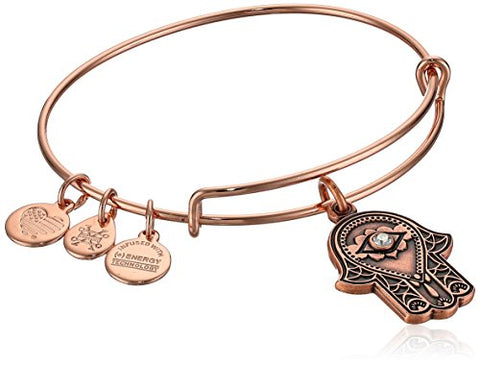 Alex and Ani Women's Hand of Fatima Rose Gold Charm Bangle Bracelet, Expandable
