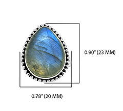 YoTreasure Labradorite Ring Solid 925 Sterling Silver Gemstone Jewelry