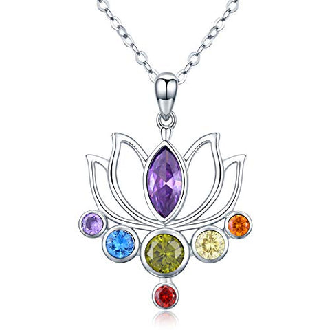 925 Sterling Silver 7 Chakra Necklace Healing Crystal Lotus Flower Pendant Necklace Jewelry Mother Birthday Gifts for Women,Mom,Wife,Yoga Lover