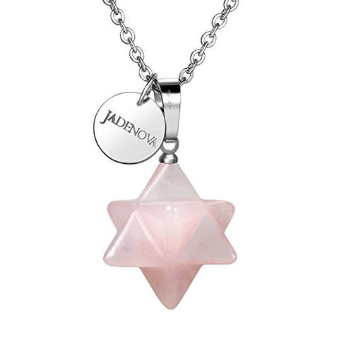 JADENOVA Natural Rose Quartz Necklace Merkaba Crystal Pendent Necklace for Women Men Jewelry Energy Healing Gemstone Pendulum Pendant (18 Inches Stainless Steel Chain)