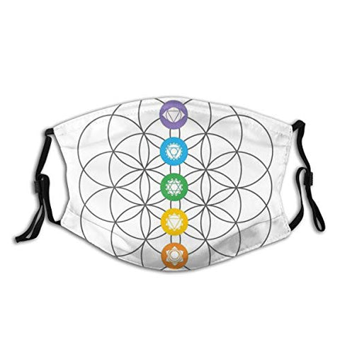 Comfortable Windproof mask,Chakra Points In Vintage Concentric Rings Of Partial Circle Zen Image,Printed Facial decorations for adult