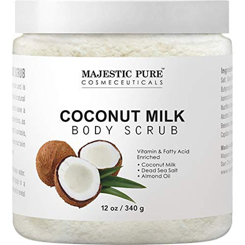 Majestic Pure Coconut Milk Body Scrub, Anti Cellulite & Exfoliator, Natural Skin Care Formula Helps with Stretch Marks, Eczema, Acne and Varicose Veins, 12 Oz