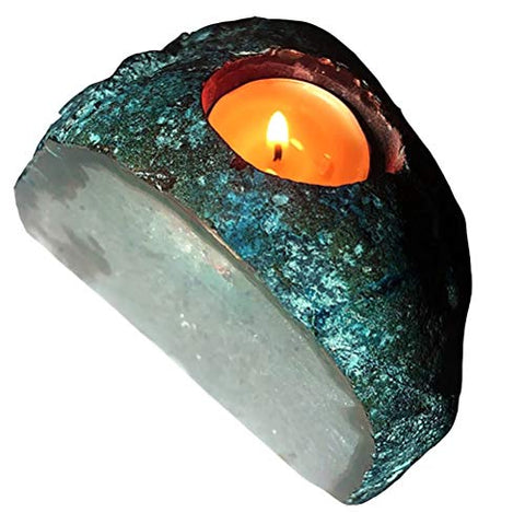 AMOYSTONE Agate Crystal Candle Holder Healing Stone Tealight Candle Holders Duty Cut Base Dyed Teal 1.5-3.0 LBS
