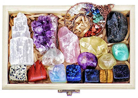 16 Natural Healing Crystals Set in Wooden Box - Tumbled Gemstones, Rough & Raw, Including Selenite Tower, Raw Black Tourmaline, Amethyst Geode, Rose Quartz, Lapiz Lazuli, Citrine & Tiger Eye