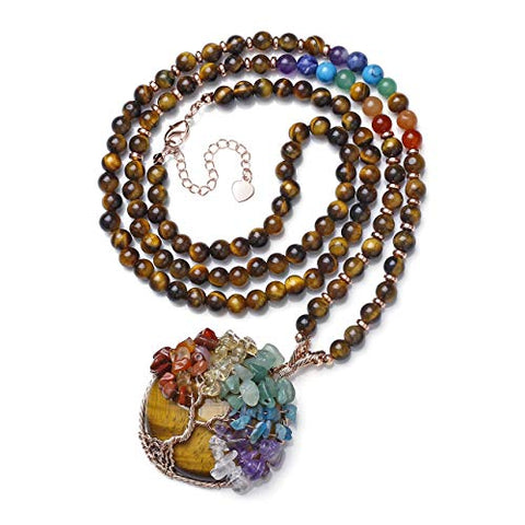 Top Plaza 7 Chakra Healing Crystal Tiger Eye Stone Natural Round Gemstone Pendant Necklace Tree of Life Copper Wire Wrapped Beads Necklaces Reiki Jewelry for Women