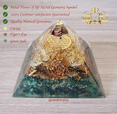 Abundance Orgone Pyramid 3 layers of Natural stones (Green Jade,Tiger's Eye &Citrine) with The Flower of Life Symbol | Orgonite Energy Generator with Crystal Point & Reiki Energy