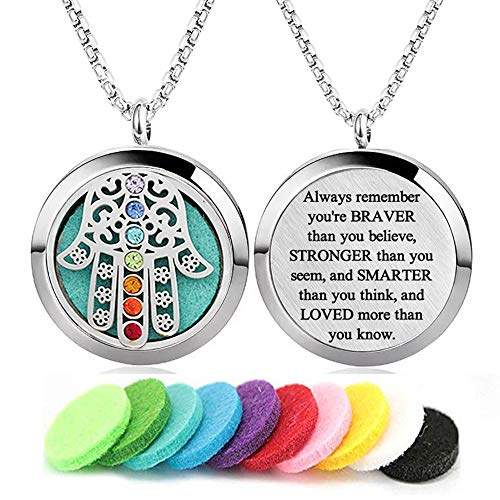 7 Chakra Aromatherapy Essential Oil Diffuser Necklace Stainless Steel Locket lnspirational Pendant