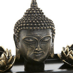 MyGift Buddha Head Sculpture Zen Garden Set w/Lotus Tealight Candle Holders & Wooden Display Tray, Black