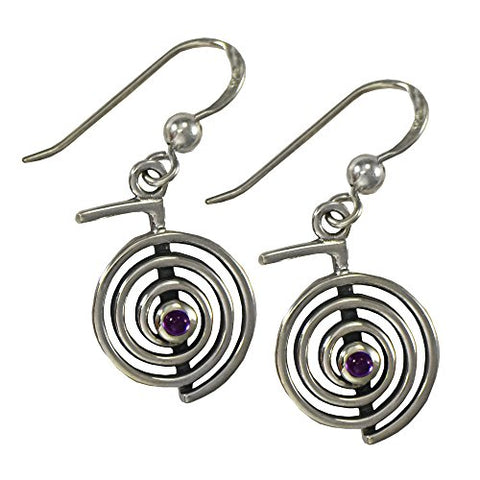 "Sterling Silver Amethyst""Cho Ku Rei"" Reiki Earrings"
