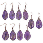 TUMBEELLUWA Natural Crystal Tree of Life Teardrop Earrings Copper Wire Wrapped Fishhook Dangle Earrings Healing Chakra Jewelry for Women, Amethyst