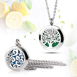 "RoyAroma 2PCS Aromatherapy Essential Oil Diffuser Necklace Two Patterns Pendant Locket Jewelry,23.6""Adjustable Chain Stainless Steel Perfume Necklace"
