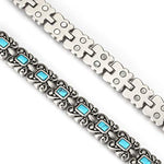 Wollet Jewelry Healthy Antique Style Blue Turquoise Magnetic Therapy Bracelets for Women