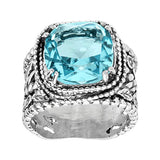 Silpada 'Wade It Out' Statement Gemstone Textured Ring in Sterling Silver, Size 5