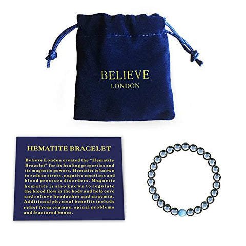 Believe London Mens Womens Hematite Magnetic Therapy Bracelet | Strong Stretch | Precious Natural Stones Healing Blue Cat Eye (8 Inch)