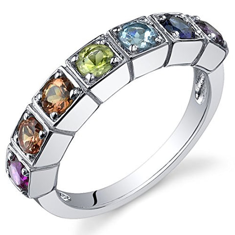 Peora 7 Stone Rainbow Color 1.75 Carats Band Ring Sterling Silver Size 7