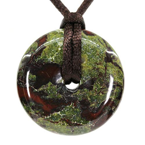 AMANDASTONES Natural A Grade Dragon Blood Jasper Circle Coin Peace Donut 30M Beads Adjustable Braided Rope Pendant Necklace Unisex