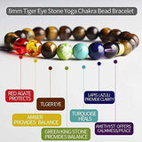 Men's and Women's Bead bracelet Bead Chakra Bracelet - 7 Chakras 8mm Aromatherapy Essential Oil Diffuser Bracelet Natural Stone Yoga Beads Bracelet Bangle (Tiger Eye)