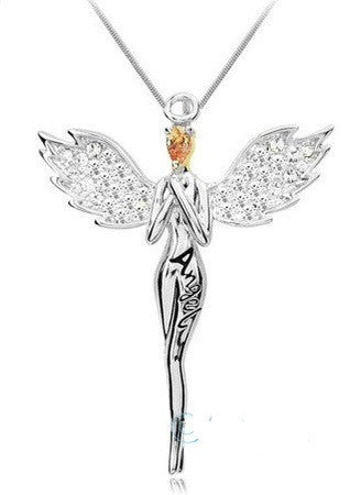 REIKI CHARGED! Beautiful ANGEL Necklace: Platinum Plated with Austrian Crystals
