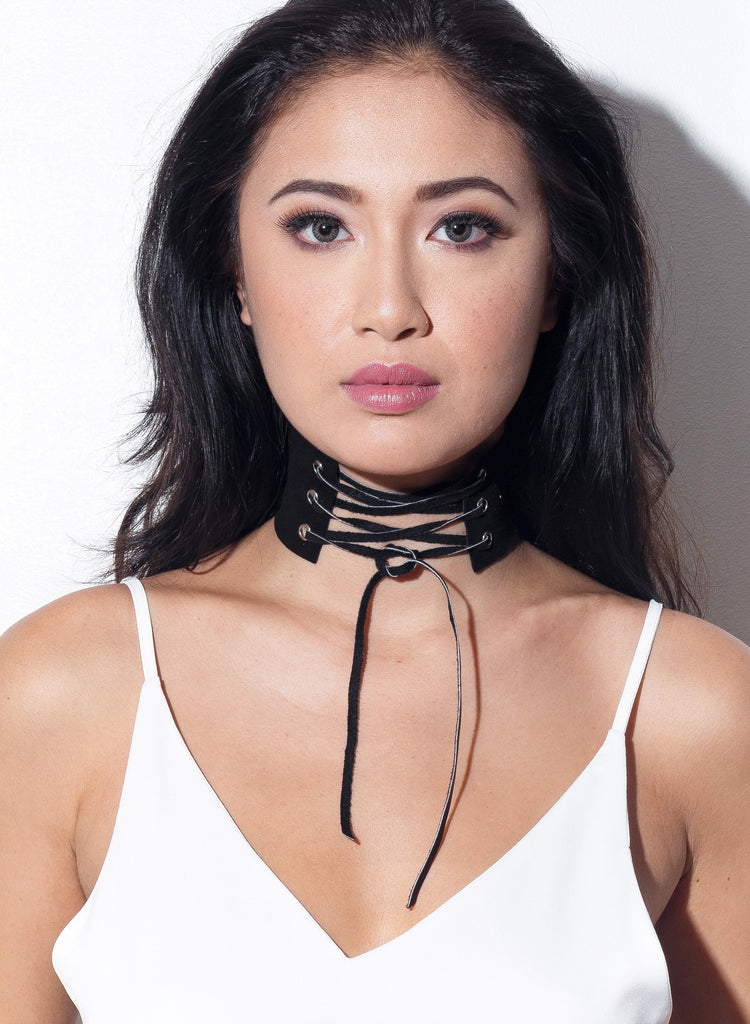 Can't Escape Lace Up Choker - Black - COPPER | Street Style Fashion Brand  - 1
