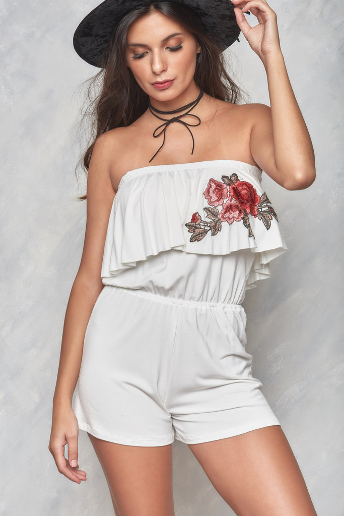 English Rose Off The Shoulder Playsuit - White