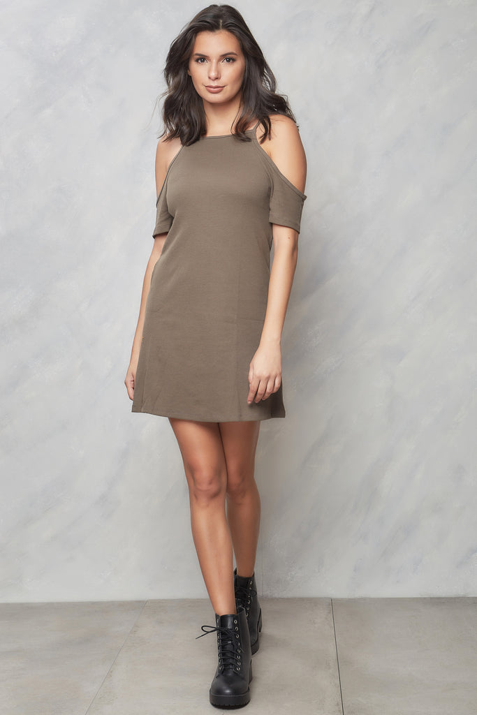 Foolish Heart Ribbed Cold Shoulder Dress - Moss