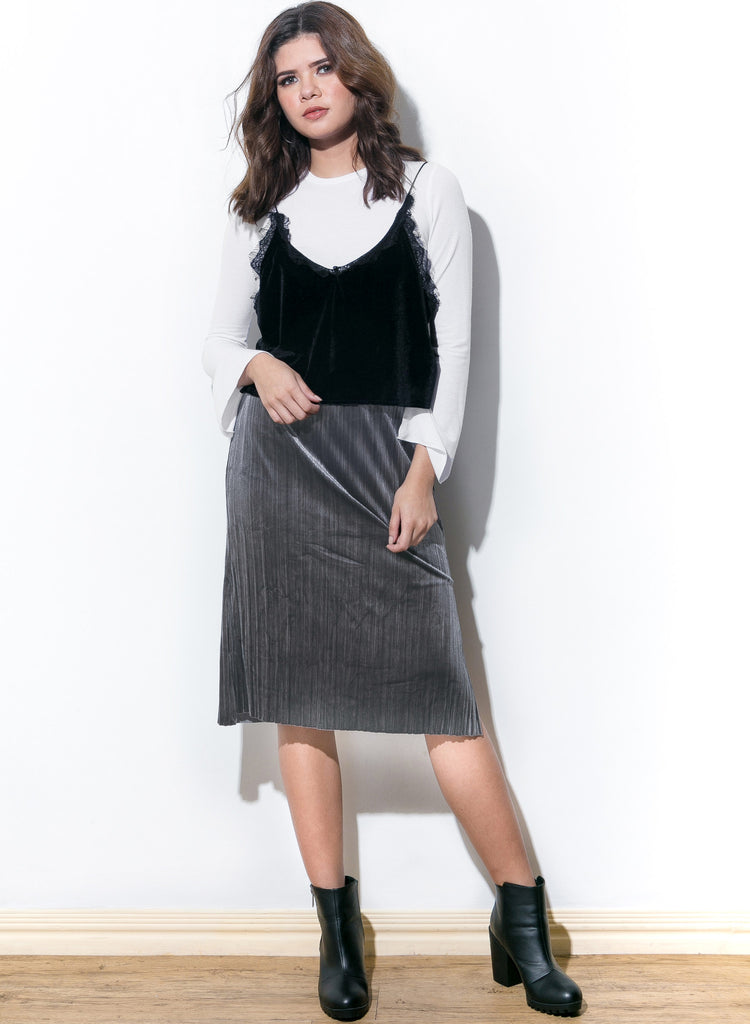 Slit Or Miss Velvet Skirt - Gunmetal - COPPER | Street Style Fashion Brand  - 2