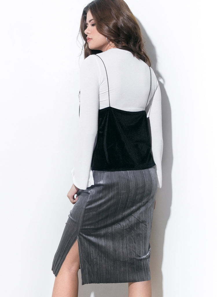 Slit Or Miss Velvet Skirt - Gunmetal - COPPER | Street Style Fashion Brand  - 1