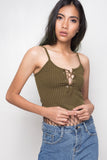 Sweet Escape Lace Up Crop Top - Moss