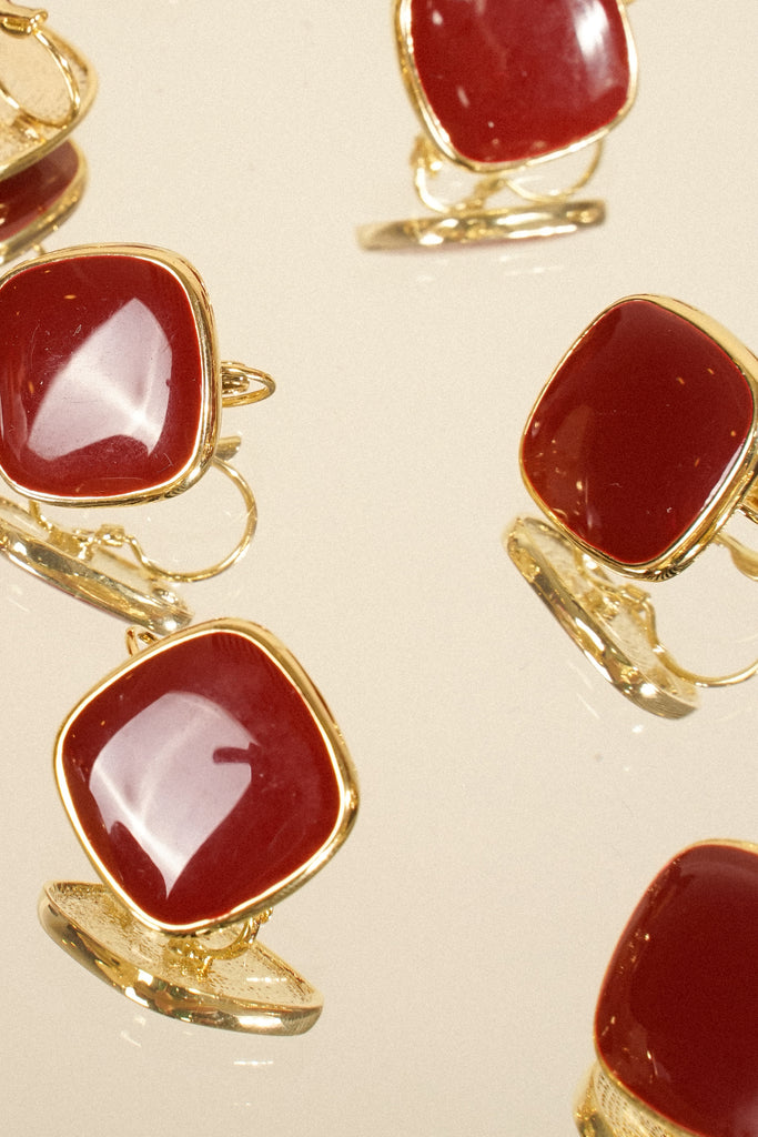 High Profile Square Earrings - Garnet
