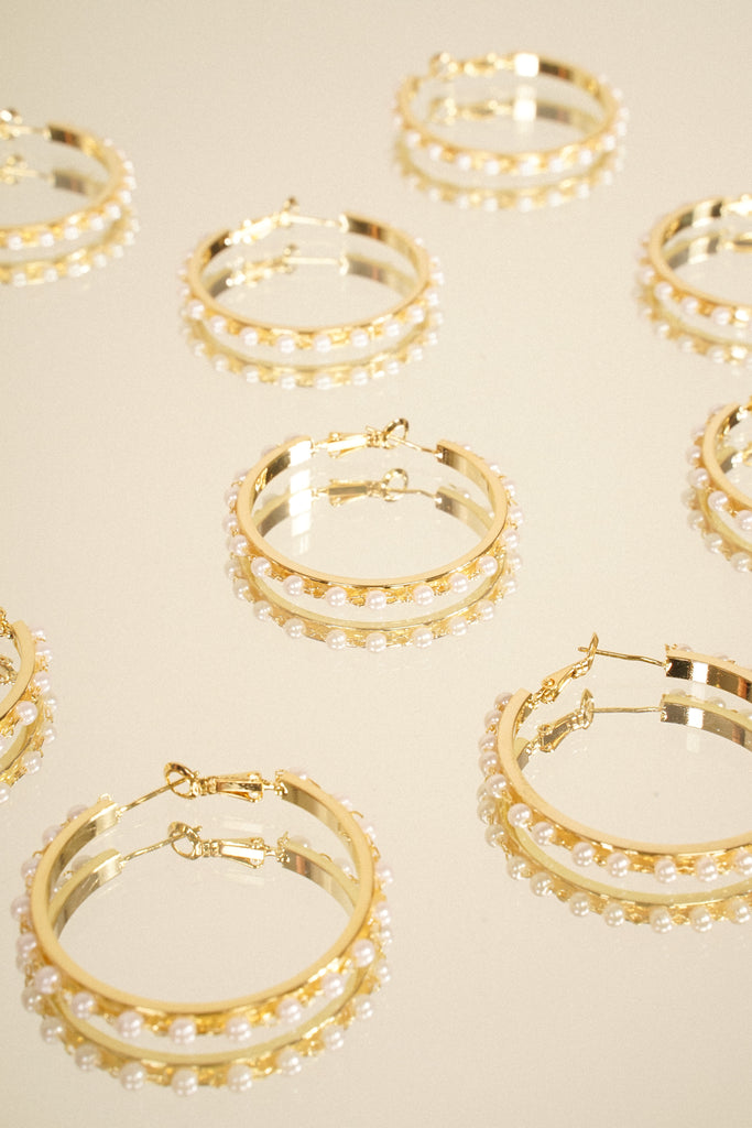 Pearl Dive Hoop Earrings