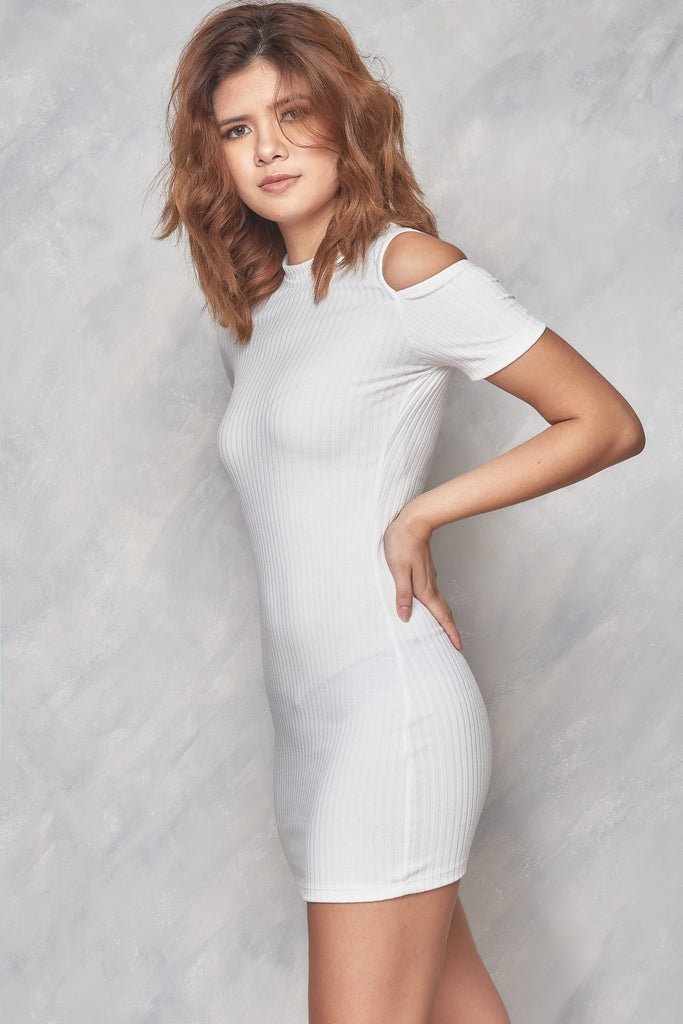 No Way Out Cold Shoulder Dress - White
