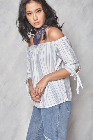 Cross My Heart Lace-Up Off The Shoulder Top - Camel