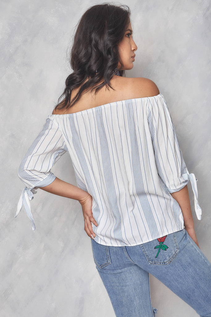 Better Days Off the Shoulder Top - Blue