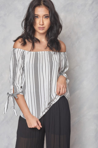Low Profile Off The Shoulder Top - Stripes