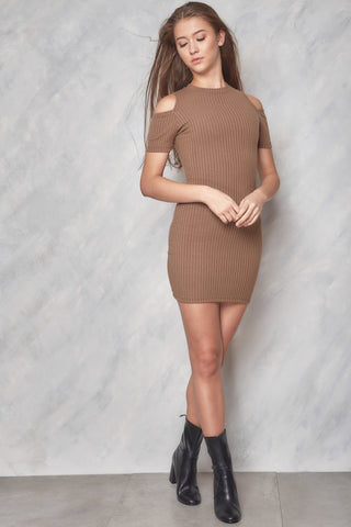 Side To Side Ribbed Off The Shoulder Top - Nude
