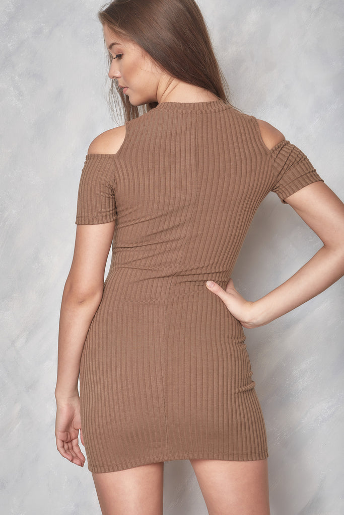 No Way Out Cold Shoulder Dress - Brown