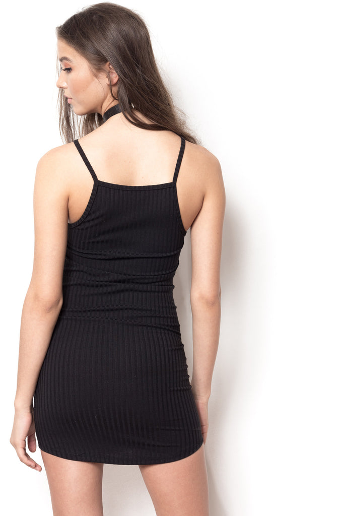Ready Or Not Ribbed Halter Dress - Black