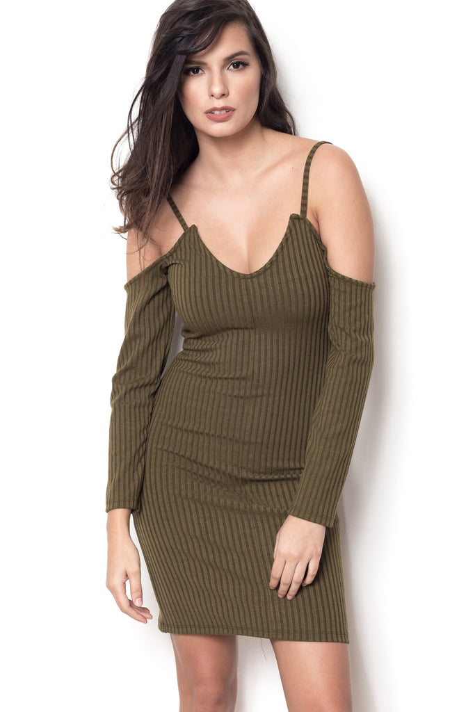 Short Notice Cold Shoulder Dress - Moss