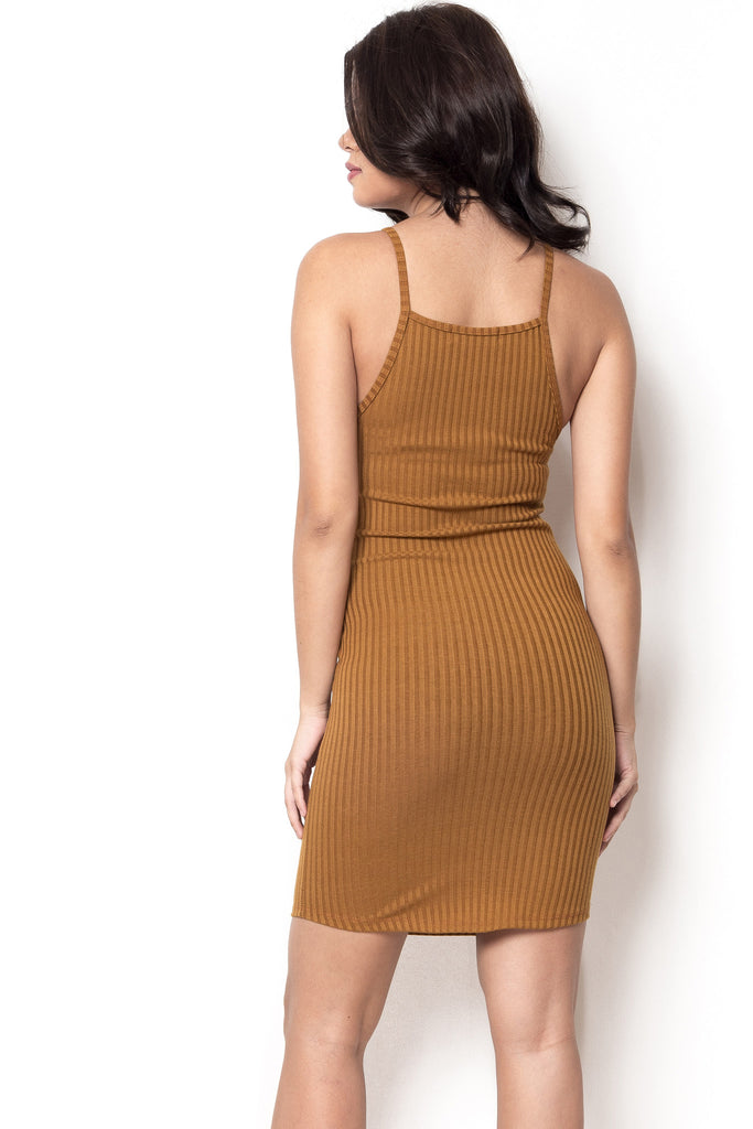 Ready Or Not Ribbed Halter Dress - Camel