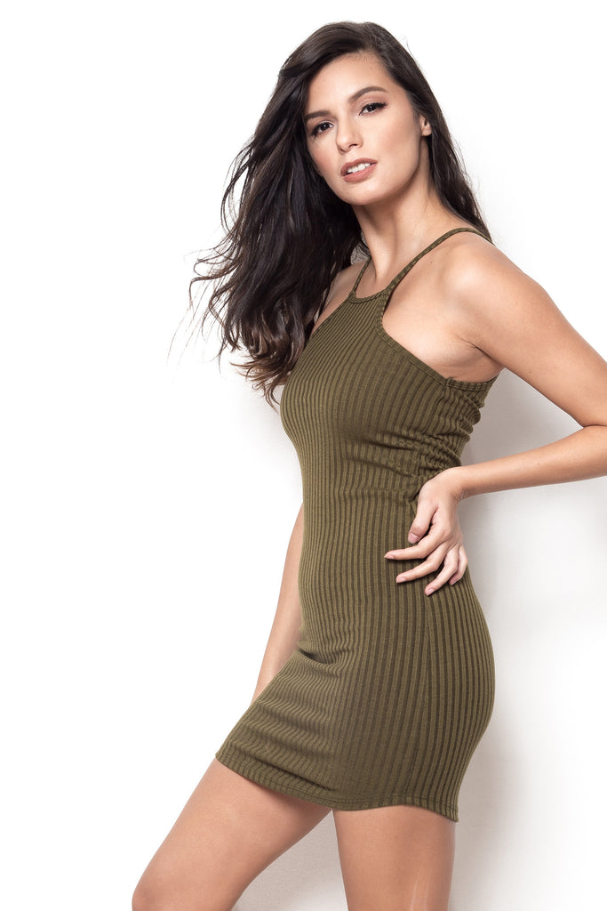Ready Or Not Ribbed Halter Dress - Moss